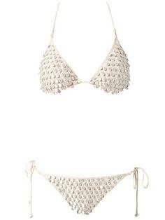 Pom Pom Cream String Bikini