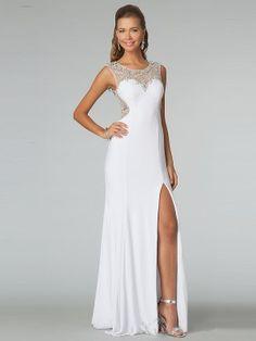 Sheath/Column Sleeveless Scoop Beading Sweep/Brush Train Chiffon Dresses - Formal Dresses - Prom Diary