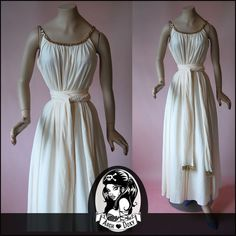 Vintage Cream Jersey Gold Sequinned Trapeze Cocktail Maxi Dress With Scarf sequins wrap belt sash