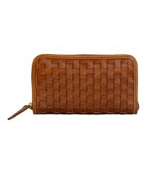 Woven Ladies Wallet in Toffee Leather Weaving, Toffee, Wallets For Women, Leather Bag, Zip Around Wallet, Hand Weaving, Card Holder, Stone, Lady