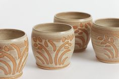 Stoneware Stemless Wine Glasses in Winter Wheat glaze