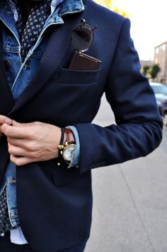 a6bbf12f946d29 Jean Jacket. Blazer. Watch.  menswatches  mensfashion  mensaccessories  Denim Suit,
