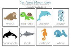 Free Printable Memory Game: Sea Animal Theme from http://learncreatelove.com