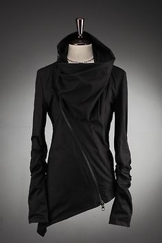 Future Fashion, asymmetric, black clothing, black jersey cowl zipper jacket