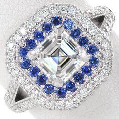 Rich blue round cut sapphires  split shank band and bezel set surprise diamonds, all set in 14k white gold. #knoxjewelrs  www.knoxjewelers.biz