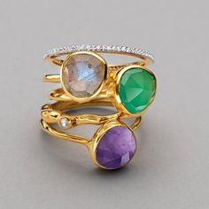 Atlantis Gem Ring in 18ct Gold Plated Vermeil on Sterling Silver with Dendritic Agate   Jewellery by Monica Vinader