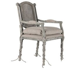 Aidan Gray Ferrel Dining Arm Chair ($1,260) ❤ liked on Polyvore featuring home, furniture, chairs, grey upholstered chair, upholstered chair, fabric arm chair, upholstered armchair and grey armchair