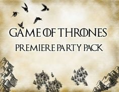DIY Game of Thrones Premiere Party Printables. Free Printables! Inlcudes: invites, welcome sign, wine label, water bottle labels, house garland and badges! by Jellyfish Soup