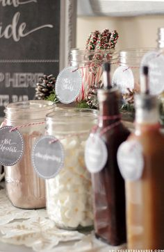 "FREE Hot Chocolate Bar Printable I Upcycled Treasures ""Baby It's Cold Outside"" Hot Beverage Bar Station for weddings or holiday parties.  Love the bakers twine on the containers."