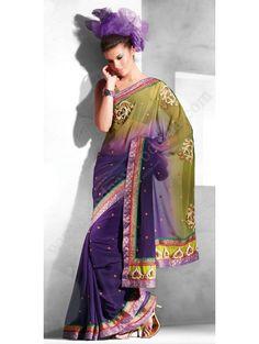 Оливково-фиолетовое красивое индийское сари из шифона, украшенное вышивкой скрученной шёлковой нитью, стразами, бисером, пайетками, кружевами и перламутровыми бусинками