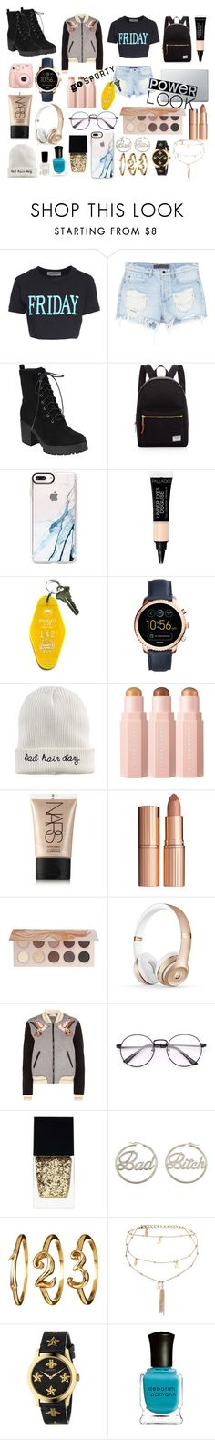 """""""college"""" by lynsay-1 on Polyvore featuring Alberta Ferretti, Alexander Wang, Herschel Supply Co., Casetify, Three Potato Four, FOSSIL, Mudd, NARS Cosmetics, Charlotte Tilbury and ZOEVA"""