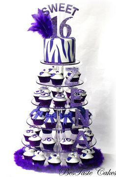New Birthday Cake Decorating Ideas For Girls Sweet 16 Ideas Sweet 16 Cupcakes, Zebra Cupcakes, Sweet 16 Birthday Cake, 16th Birthday, Birthday Bash, Birthday Ideas, Birthday Parties, Purple Sweet 16, Cake For Boyfriend