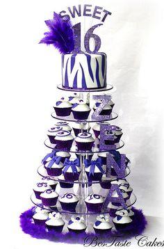 Sweet 16 zebra cupcake tower