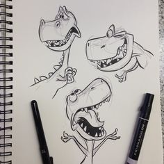 "799 mentions J'aime, 13 commentaires - Eric Scales (@ericscales13) sur Instagram: ""More #tyrannosaurusrex #trex #dinosaur #breaksketch #brushpen #cartoon #characterdesign"""