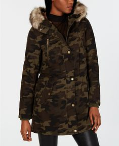 Bcbgeneration Hooded Faux-fur-trim Anorak In Camo Coats For Women, Clothes For Women, Unisex Baby Clothes, Bcbgeneration, Trendy Plus Size, Leggings Are Not Pants, Fur Trim, Jacket Dress, World Of Fashion