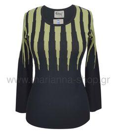 Μπλούζα πλεκτή ακτίνες. Είναι δίχρωμη μπροστά και στη πλάτη μονόχρωμη. Έχει λαιμόκοψη και μακρια μανίκια. Μήκος 64εκ., μήκος μανικιών 56εκ.50%merinos-50%acr.Ελληνική ραφή. #knitwear #jumper #womansblouse #plussize #mariannaclothing #rinasknitwear Knitwear, Blouses, Jumpers, Long Sleeve, Sleeves, Shopping, Tops, Women, Fashion