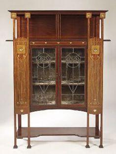 Art Nouveau mahogany and inlaid display cabinet