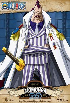 One Piece - Momonga  El Vice Almirante Momonga (モモンガ中将 Momonga Chūjō?) es uno de los cinco Vicealmirantes en dirigir el Buster Call en Enies Lobby.