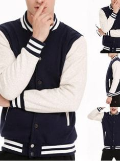 You searched for akolzol.com Baseball Jacket Men, Denim Jacket Men, Sweater Jacket, Men Sweater, Denim Jackets, College Casual, Elastic Jeans, Baseball Fashion, New Fashion