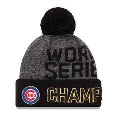 a97464f0b2b Chicago Cubs New Era 2016 World Series Champions Locker Room Cuffed Knit Hat  with Pom - Graphite Black