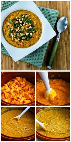 Slow Cooker Thai-Inspired Butternut Squash and Peanut Soup with Red Bell Pepper, Lime, and Cilantro