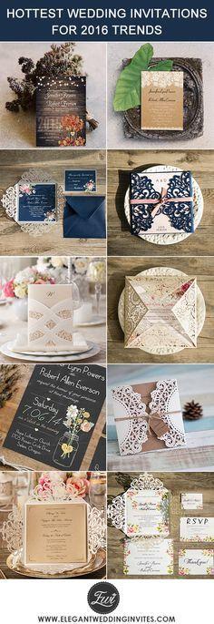 "2016 trending most popular country rustic elegant wedding invitations @elegantwinvites -USE CODE ""PRO"" TO ENJOY 15% OFF"
