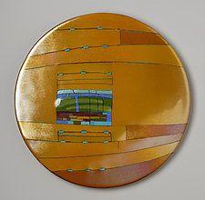 """Amber Window Round by Lynn Latimer (Art Glass Wall Sculpture) (16.5"""" x 16.5"""")"""