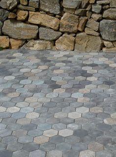 Hexagon Pavers recycled granite