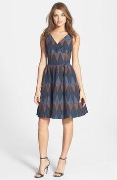 Halogen® Print V-Neck Fit & Flare Dress (Regular & Petite)   Nordstrom