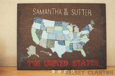 Wedding Gift: US map DIY