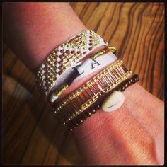 Manchette de bracelets brésiliens or et marron