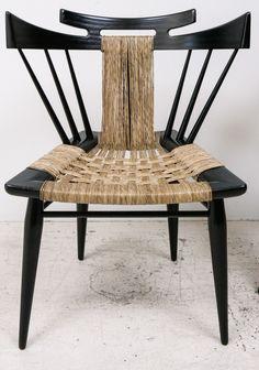 Edmund Spence; Ebonized Mahogany and Sea Grass Side Chair, 1950s