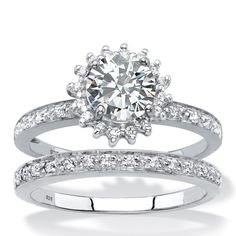 Palm Beach Jewelry Created White Sapphire and Genuine Diamond and Halo Wedding Ring Set TCW in Platinum ov Wedding Rings For Bride Diamonds, Platinum Wedding Rings, Diamond Wedding Rings, Diamond Rings, Diamond Jewelry, Best Diamond, Diamond Cuts, Wedding Ring Styles, Wedding Bands