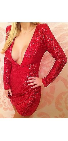 Moulin Rouge Red Sequin Plunging Long Sleeve Mini Bodycon Tulip Dress