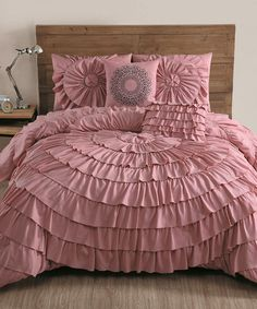 Another great find on #zulily! Rose Sadie Circle-Ruffle Five-Piece Comforter Set by Geneva Home Fashions #zulilyfinds