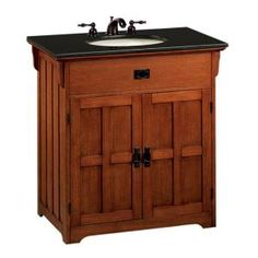 "I may look into a different countertop to give this less of a ""big box"" retailer feel, but for the price point ($259), I think this is the perfect Mission/Arts and Crafts vanity for my powder bath off of the kitchen."