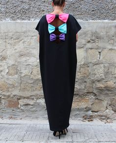 Black Backless Dress, Maxi Dress, Party Dress, Caftan, Plus size dress, Kaftan, Bow Dress, Oversized Dress, Abaya