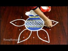Easy Pongal Pot Kolam with 5*3 dots | Easy Bhogi Kundala Muggulu | Sankranthi Muggulu | RangRangoli - YouTube