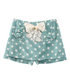Look what I found on #zulily! Fern & White Polka Dot Shorts - Toddler & Girls #zulilyfinds