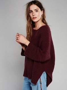 Showdown Poncho | Thick knit poncho with a slouchy shape. Wide neck opening and slight high-low hem. Relaxed quarter length sleeves add to the effortless feel.