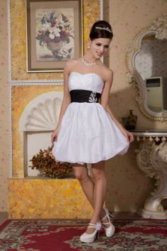 Sweetheart Taffeta White Bridesmaids Gowns ted2654 - SILHOUETTE: A-Line; FABRIC: Taffeta; EMBELLISHMENTS: Flower , Ribbons; LENGTH: Short - Price: 85.5400 - Link: http://www.theeveningdresses.com/sweetheart-taffeta-white-bridesmaids-gowns-ted2654.html