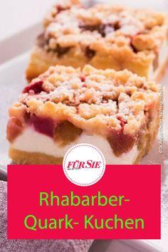 Es ist Rhabarber-Saison - probiere daher diesen köstlichen Rhabarber-Quarkkuchen für die nächste Kaffeerunde. Er schmeckt unwiderstehlich frisch und lecker - das Rezept einfach downloaden! #rhabarber #rhabarberkuchen #backen #rezepte #obstkuchen #fuersiemagazin Delicious Desserts, Yummy Food, Food And Drink, Ice Cream, Sweets, Cookies, Cake, Ethnic Recipes, Buffet