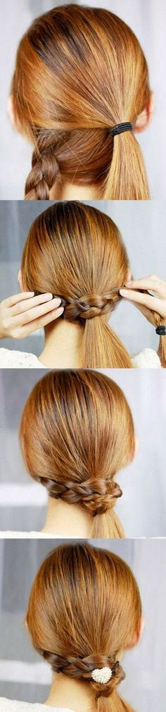 Low ponytail wrapped with braid