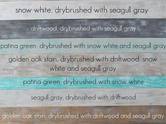 painted plank wall using General Finishes Milk Paint: four of their colors: Snow White, Seagull Gray, Driftwood, and Patina Green - as noted on wood Painted Furniture, Diy Furniture, Painted Wood Walls, Cottage Furniture, Furniture Online, Palette Deco, Pallet Walls, Diy Pallet Wall, Do It Yourself Furniture