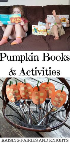 Pumpkin Books & Activities - The Monthly Crafting Book Club is focusing on Pumpkin books, crafts & activities this month. We did Pumpkin Name Cards for your Harvest or Thanksgiving meal #pregnancyactivitybook,