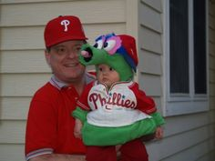 My mom made this Phanatic halloween costume for my nephew in 2008 . She made it herself from scratch and my dad adding a working tongue.