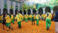Strange is not a word : the most bizarre festivals around the global village BATTLE OF THE ORANGES , IVREA , ITALY