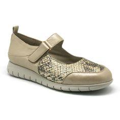 Yio zapato, color beige, planta extraible, ancho especial