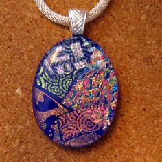 Blue Dichroic Glass Pendant Dichroic Jewelry by GlassMystique, $25.00
