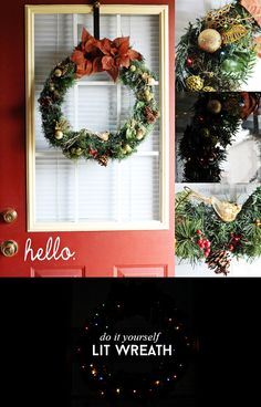 DIY Lit Wreath via @sheenatatum